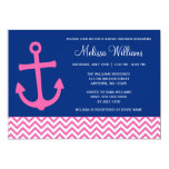 Nautical Anchor Chevron Blue Pink Bridal Shower 13 Cm X 18 Cm Invitation Card