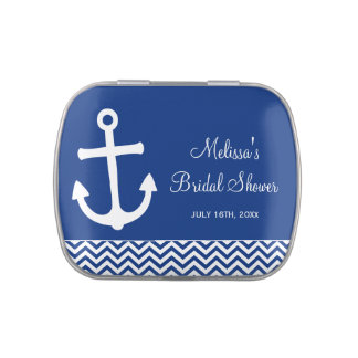 Nautical Anchor Chevron Navy Blue Bridal Shower Jelly Belly Tins