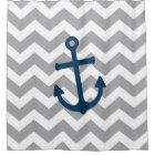 Nautical Anchor Chevron Navy Blue Grey Shower Curtain