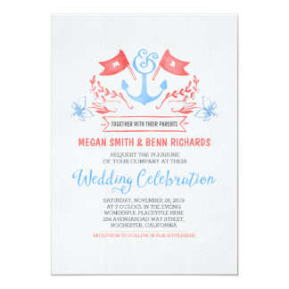 Nautical anchor coral blue wedding invitations