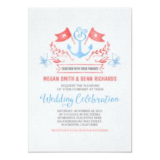 Nautical anchor coral blue wedding invitations