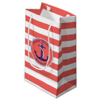 Nautical Anchor Coral Personalized Birthday Small Gift Bag