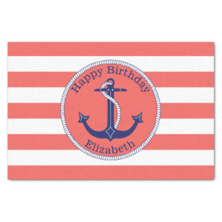 Nautical Anchor Coral Personalized Birthday Tissue Paper