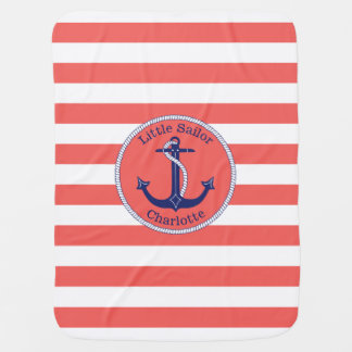 Nautical Anchor Coral Striped Personalized Girl's Baby Blanket