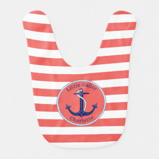 Nautical Anchor Coral Striped Personalized Girl's Bibs