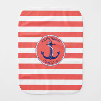 Nautical Anchor Coral Striped Personalized Girl's Burp Cloth