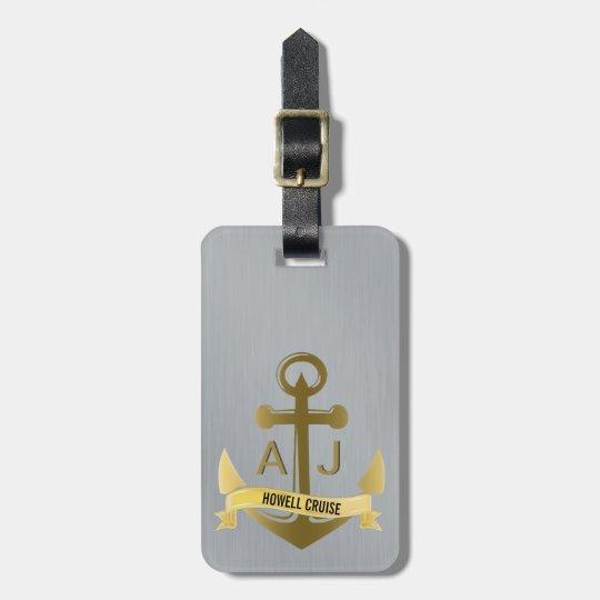 Nautical Anchor Cruise Vacation Metallic Monogram Luggage Tag