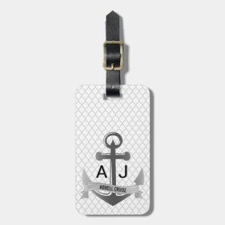Nautical Anchor Cruise Vacation Quatrefoil Silver Luggage Tag