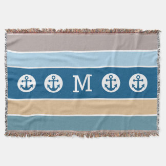 Nautical Anchor custom monogram throw blanket