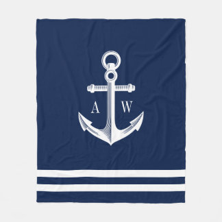 Nautical Anchor Custom Monograms Navy Fleece Blanket