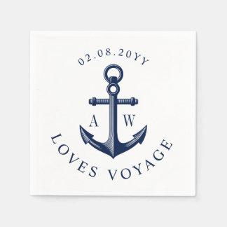 Nautical Anchor Custom Monograms Paper Napkin