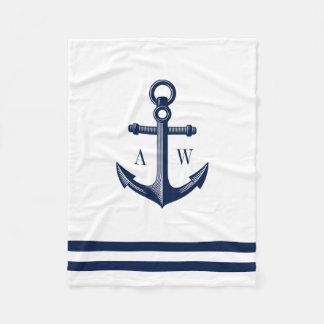 Nautical Anchor Custom Monograms White Fleece Blanket