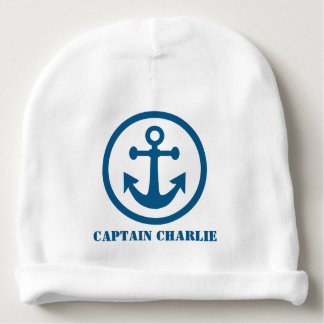 Nautical Anchor custom text baby hat Baby Beanie