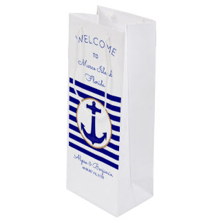 Nautical Anchor Custom Wedding Welcome Wine Bag