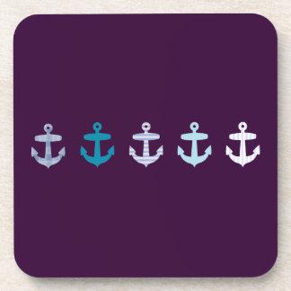 Nautical Anchor Design - Blue / Purple Coaster