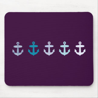 Nautical Anchor Design - Blue / Purple Mouse Mat
