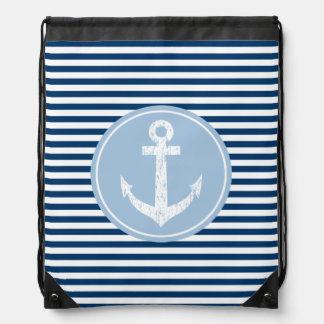 Nautical anchor drawstring bag   navy blue stripes
