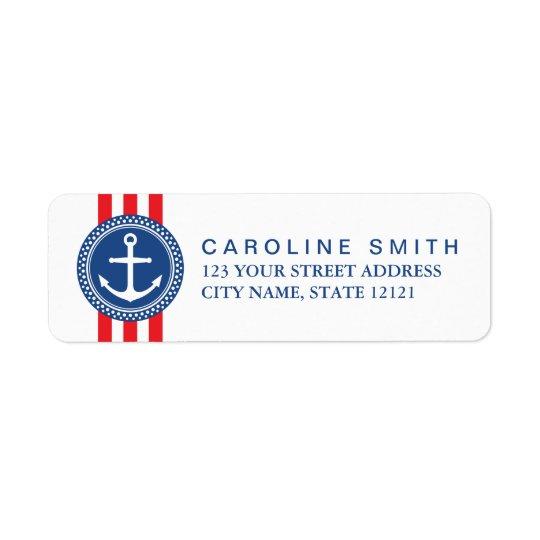 Nautical anchor emblem red stripes return address