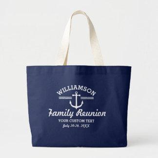 Nautical Anchor Family Reunion Trip Cruise Beach Large Tote Bag