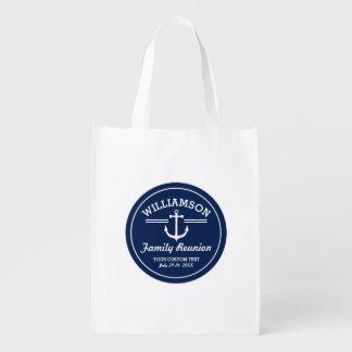 Nautical Anchor Family Reunion Trip Cruise Beach Reusable Grocery Bag