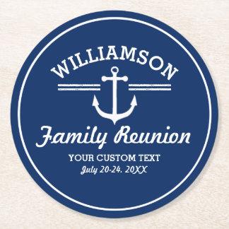 Nautical Anchor Family Reunion Trip Cruise Beach Round Paper Coaster