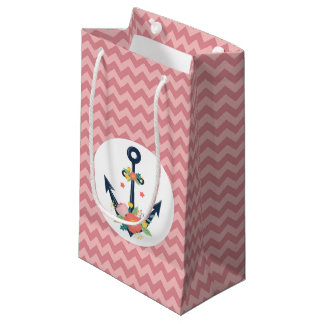Nautical Anchor Floral Baby Girl Shower Party Small Gift Bag