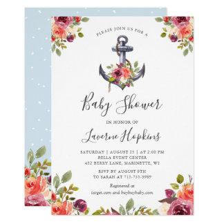 Nautical Anchor Floral Boy Baby Shower Card