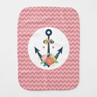 Nautical Anchor Floral Infant Girl Shower Gift Burp Cloth