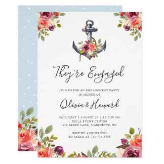 Nautical Anchor Floral Knot Engagement Party Card