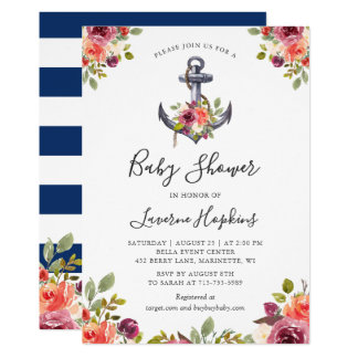 Nautical Anchor Floral Navy Stripes Baby Shower Card