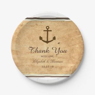 Nautical Anchor Framed Vintage Paper Wedding Paper Plate