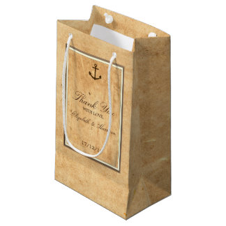 Nautical Anchor Framed Vintage Paper Wedding Small Gift Bag