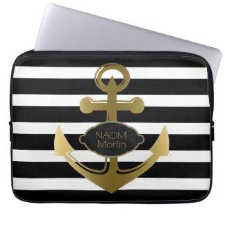 Nautical Anchor Gold Name Modern Black Stripes Laptop Sleeve