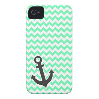Nautical Anchor; Green Chevron Case-Mate iPhone 4 Case
