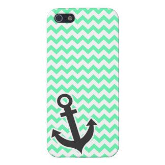 Nautical Anchor; Green Chevron iPhone 5/5S Case