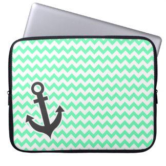 Nautical Anchor; Green Chevron Laptop Computer Sleeve