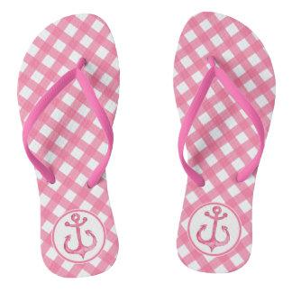 Nautical Anchor   Hot Pink Plaid Flip flops
