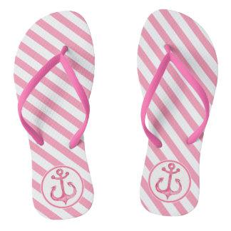 Nautical Anchor   Hot Pink Striped Flip flops