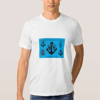 Nautical anchor icons blue tee shirt