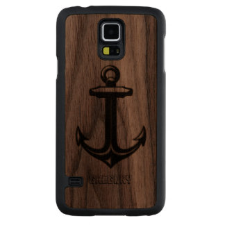 Nautical Anchor In Black leather Touch Of Gold Walnut Galaxy S5 Case