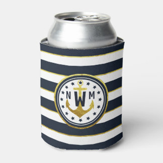 Nautical Anchor in Navy & Gold Can Cooler