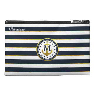 Nautical Anchor in Navy/Gold Travel Accessory Bag