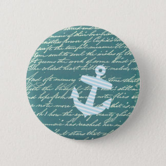 Nautical anchor in turquoise teal 6 cm round badge