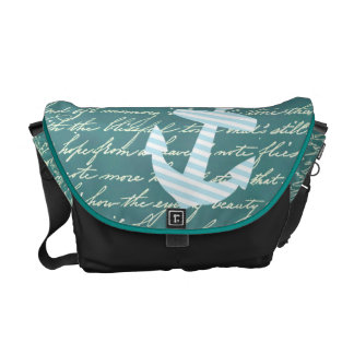 Nautical anchor in turquoise teal bag commuter bags