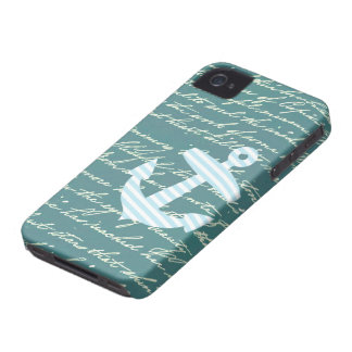 Nautical anchor in turquoise teal iPhone 4 covers