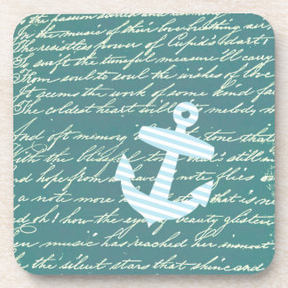 Nautical anchor in turquoise teal coasters