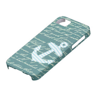 Nautical anchor in turquoise teal iphone 5 case