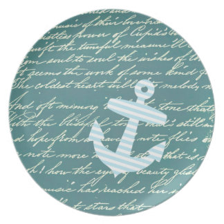 Nautical anchor in turquoise teal plate