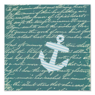 Nautical anchor in turquoise teal poster