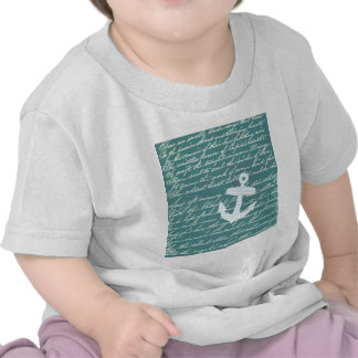 Nautical anchor in turquoise teal t shirts